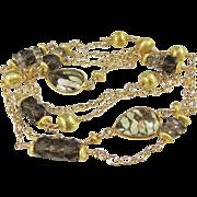 SALE PENDING Long Necklace ~ A SENSE OF SABLE ~ Smoky Quartz, Jasper, Gold-Fill, Vermeil
