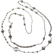 SOLD Long Station Necklace ~ SILVER CAROUSEL ~ Sterling Silver, Clear Gemstones