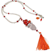 Tasselated Pendant Necklace ~ RED TYGER ~ Red Coral, Carnelian, Rose Quartz, Seed Beads, CF Pe