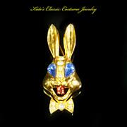Rabbit Brooch/Pin -- Patriotic Figural -- Unsigned KARU -- Book Piece