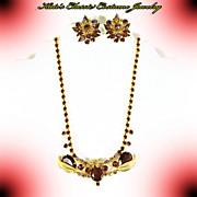 Rhinestone Necklace & Earrings-Purple & lavender