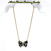 Eisenberg signed Figural Butterfly Necklace -- Millefiori -- 1970s