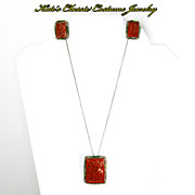 SALE Chinese early Carved lacquer Cinnabar Pendant & Earrings -- Enamel & Filigree --