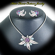 Rhinestone Floral Orchid Necklace & Earrings -- Designer Quality -- Snake Chain