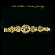 SALE German Czech Art Nouveau Brass Floral Bracelet – Multicolored Rhinestone Fruit Salad â€