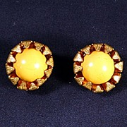 SALE Miriam Haskell Flower Earrings--Mustard Yellow Art Glass