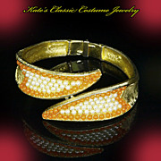 B.S.K. Signed Hinged Clamper Bracelet – Mid Century Modern faux Pearl & Coral †...