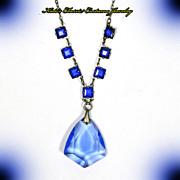SALE Czech Necklace – Art Deco – Blue Crystal – Signed
