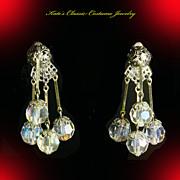 Lewis Segal Dangle Earrings – Aurora Borealis Crystals – Mad Men Era