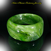 Lucite Bangle Bracelet-- Asymmetrical – Marbled Spinach – Bold