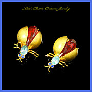 Czech Signed Bug/Fly/Insect Pair Scatter Pins – 20s/30s