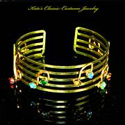 Cuff Bracelet – Musical Notes – 12 Karat Gold Filled Wire Work – 30s †...
