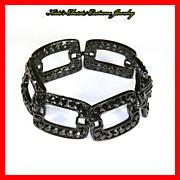 Jet Black Rhinestone Bracelet – Japanned – Large Links