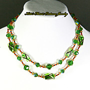 Vendome Necklace – Art Glass – Green, Black, Orange – 60s – Mad Men