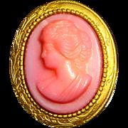 Art Deco Pink Czech Glass Cameo Pin – Gold wash over Brass