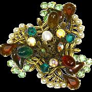 Striking Unusual Brooch/Pin –Saphiret Stones