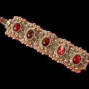 SALE Selro style Bracelet – Marbleized Cabochons – 50s/60s Chunky