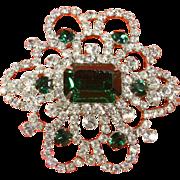 Weiss 'Snowflake' Emerald Green Rhinestone Brooch/Pin