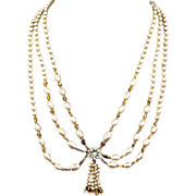 SALE Older Unsigned Miriam Haskell Festoon Necklace – faux Pearls & Art Glass Beads
