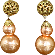 Miriam Haskell Signed Earrings – Large Pink faux Pearl Dangles