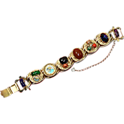 Kafin unsigned Victorian Revival style Cabochon & faux Gold Filigree Bracelet