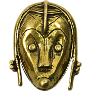 African Tribal Face Woman Sterling Pin & Pendant