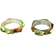 Lucite Pearlized Bangle Bracelets Pair Real Turquoise & Coral