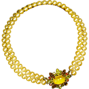 Hobe faux Pearl & Magnificent Rhinestone Clasp Necklace
