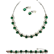 Leru Parure -Necklace ,Bracelet, Earrings-Green Cabochons & Rhinestones