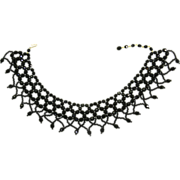 Vintage French Jet Black Glass Collar Necklace-Edwardian Style