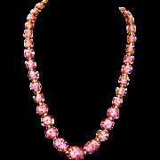 Pink Venetian Italian Sommerso Bead Necklace-Gold Fluss