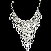 Dangling Bezel Set Crystal & Rhinestone Waterfall Necklace