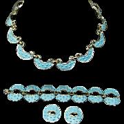 Vendome Modernist Turquoise Enamel Parure – Full Set – Necklace, Earrings, Bracelet