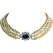 Triple Strand faux 8mm Pearl Necklace – Rhinestone Clasp – Showstopping –L'etoile
