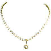 Vintage 18 K Yellow Gold Mikimoto 6mm Pearls- Diamond/Pearl Enhancer/Pendant 18.75""
