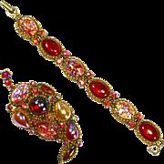 HAR Hargo Dragon's Breath & faux Opal Pin & Bracelet – Magnificent – Unsigned