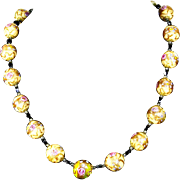 Vintage Venetian Wedding Cake Aventurina Glass Bead Necklace