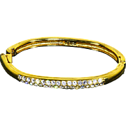 Signed Swarovski Oval Hinged Bangle Bracelet – Rhinestones & Gold Plated – 80s
