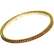 Victorian Bohemian Garnet Bracelet – 2 Row – Bangle – 1880s/1890s