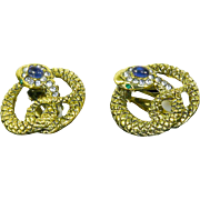 Coiled Snake Figural Earrings – Rhinestones