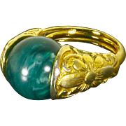 Trifari Domed Ring – Adjustable – Interchangeable Stone – 60s