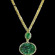 Vintage Napier faux Carved Pierced Jade Pendant Necklace