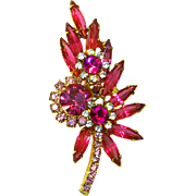 Delizza & Elster Juliana Hot Pink Rhinestone Vintage Estate Pin