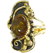 Navajo Vintage Fire Agate Ring sz. 7 Signed Kee Tsosie-Sterling Silver & 12k Gf