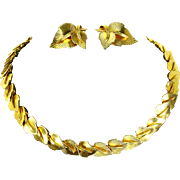 Marcel Boucher Signed & Numbered Gold Tone Leaf Link Necklace & Earrings – late 1950s