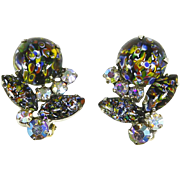 Selro signed Art Glass & Rhinestone Earrings – Mosaic/Millefiori Stones