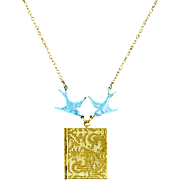 Vintage Book Locket Necklace w/ Turquoise Enamel Birds – 1/20 14k Gold Filled Chain