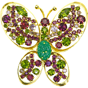 Rhinestone Butterfly Brooch – Huge – Olive Green & Purple – Designer Quality