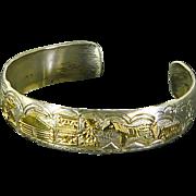 Vintage Navajo Story Teller Cuff Bracelet – Sterling & 12K GF – Signed TA Begay