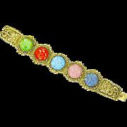 Art Deco Chinese Molded Glass Panel Bracelet – Chrysanthemum & Snake – 1920s – 1930s